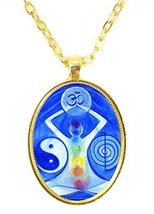Manifestation Symbols Huge 30x40mm Bright Gold Pendant with Chain Necklace - $14.95