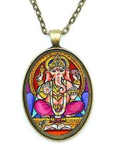 Ganesh God Wisdom Huge 30x40mm Talisman Antique Gold Bronze Pendant with... - $14.95