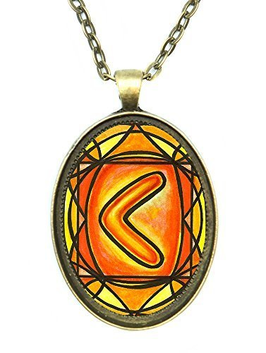 Rune Kenaz for Skill and Knowledge Huge 30x40mm Antique Bronze Gold Pendant