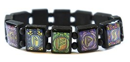 Rune Symbols Cool Tones Manifestation Prayer Black Wood Stretch Bracelet - $14.95