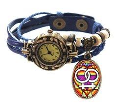 "Lesbian Blue Boho Leather Charm Bracelet Watch 7"" to 8 1/4"" [Watch] - $14.95"
