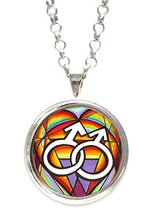 Homosexual Love Silver Pendant with Chain Necklace [Jewelry] - $14.95