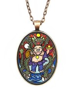 Buddha Good Luck Dragon Huge 30x40mm Antique Copper Pendant with Chain N... - $14.95