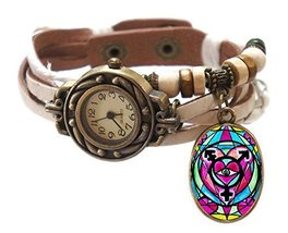 "Transgender White Boho Leather Charm Bracelet Watch 7"" to 8 1/4"" [Watch] - $14.95"