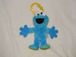 """COOKIE MONSTER Plush Rattle Teether Baby Toy by munchkin 7.5"""" Clip On Link - $24.74"""