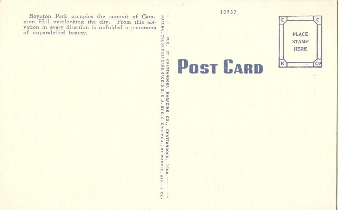 Boynton Park, Cameron Hill, Chattanooga, Tennessee, unused linen Postcard