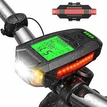 USB Rechargeable 5 LED Modes Bicycle Headlight Front and Rear with Spee... - $41.85