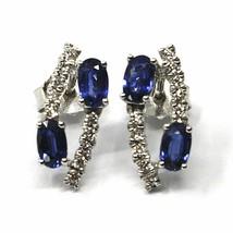 18K WHITE GOLD PENDANT EARRINGS, ALTERNATE OVAL BLUE SAPPHIRES & DIAMONDS image 1