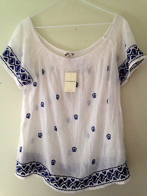 Primary image for NWT Lucky Brand Cotton Sheer White Knit Boatneck Airy Embroidered Top L $90