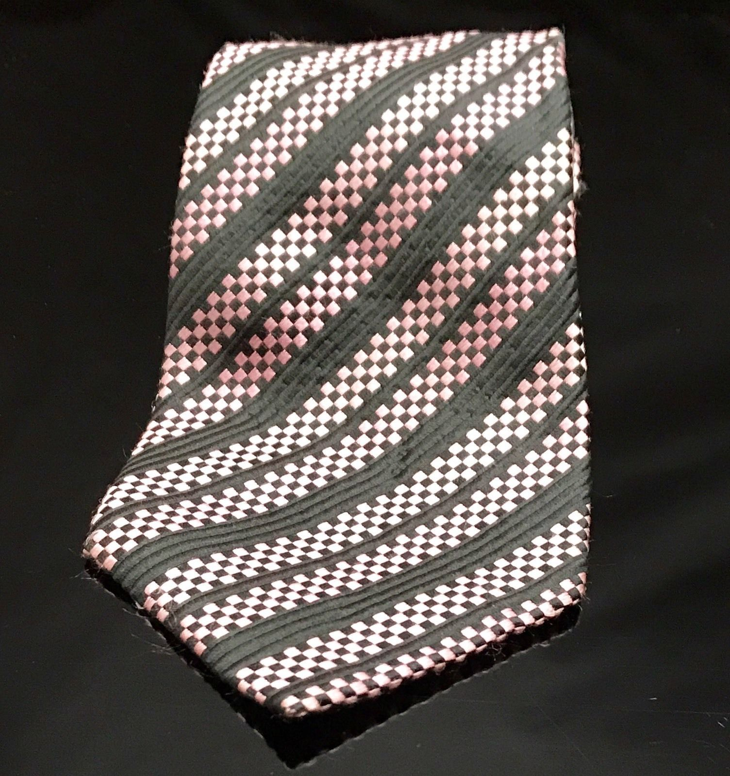 GEOFFREY BEENE BLACK Pink SQUARE BLOCKS Stripe SILK NECKTIE TIE Unique image 2