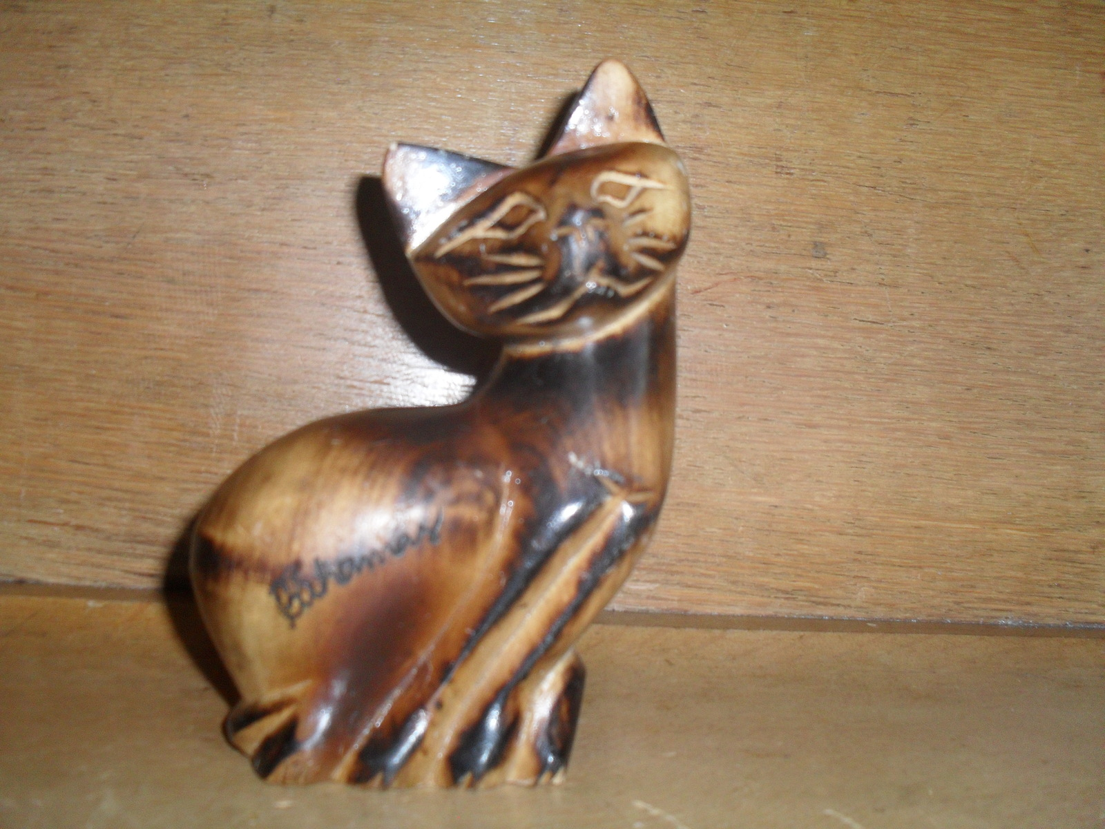 Hand Carved Wooden Cat