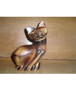 Hand Carved Wooden Cat - $3.00