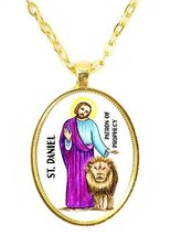 St Daniel Patron of Prophecy Huge 30x40mm Bright Gold Pendant with Chain... - $14.95