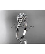 14kt white gold celtic trinity knot engagement ring, Moissanite CT7322 - $850.00