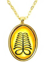 Adinkra AYA for Endurance and Resourcefulness Huge 30x40mm Bright Gold P... - $14.95