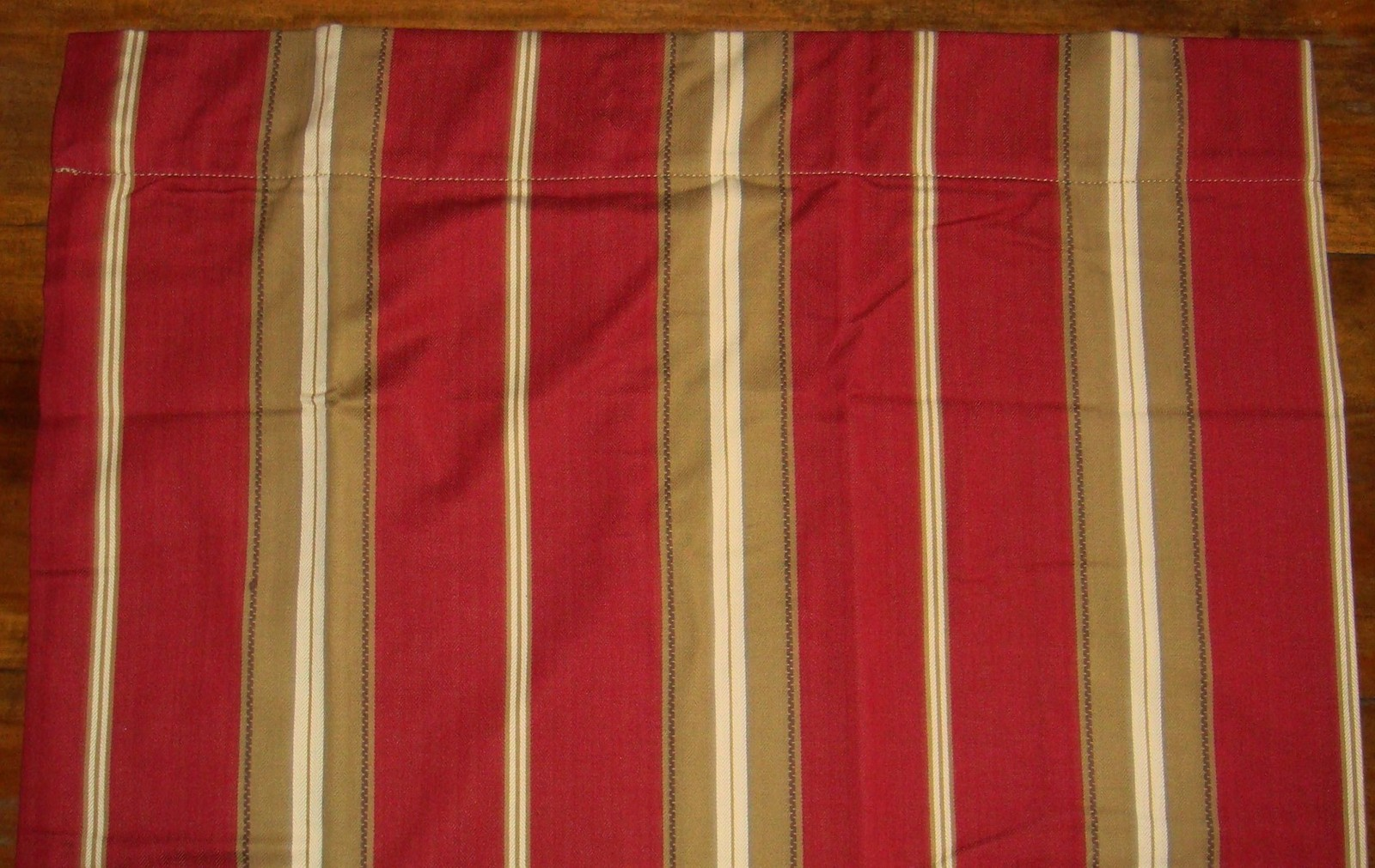 Pottery Barn 1 Red Stripe Lined Drapery Panel Curtain 50 X 84 Red Tan Cream Brow Curtains