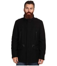 Cole Haan 534AW562 Men's Black Wool Lined Military Melton Carcoat Jacket... - $111.99