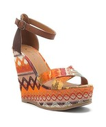 MIA Reeba Womens Tan Mayan Fabric Platform Wedges Sandals Shoes 10 - $31.99