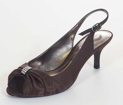 Nina Corabel Womens Chocolate Brown Slingback Open Toe Sandals Heels Shoes 6.5 - $31.99