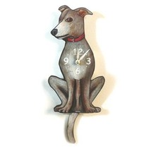 Pink Cloud Greyhound Puppy Dog Pendulum Wall Clock - $41.99