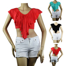 Sexy Scoop Neck Short Sleeve Pleat CROP TOP Stretch,Lining Layer Summer ... - $13.99