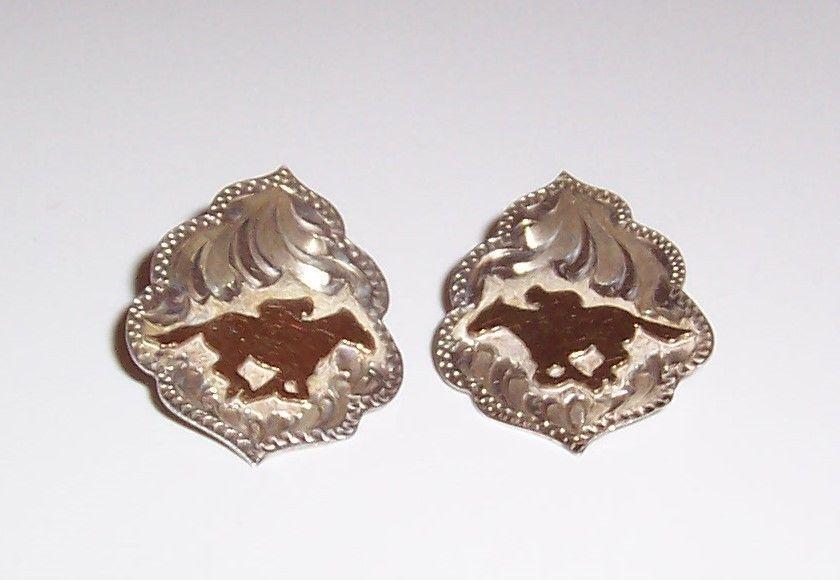 sterling Silver By Wanda  Running Horse Earrings / Pierced Earrings