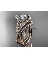 14kt rose gold diamond celtic trinity knot wedding ring, engagement set ... - $2,670.00