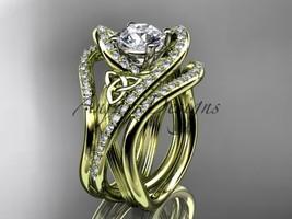 14kt yelow gold diamond celtic trinity knot wedding ring,engagement ring CT7369S - $3,420.00