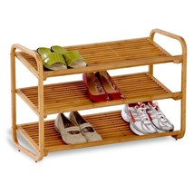 3-Tier Bamboo Wood Shelf Shoe Rack Closet Organ... - $38.58