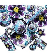 36 Polymer Poly Fimo CLAY Bead Mix~ Whimsical Flower Design Purple Blue ... - $5.06