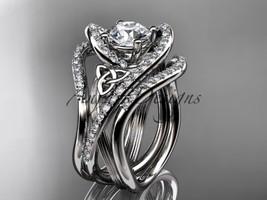 Platinum diamond celtic trinity knot wedding ring, engagement ring CT7369S - $4,670.00