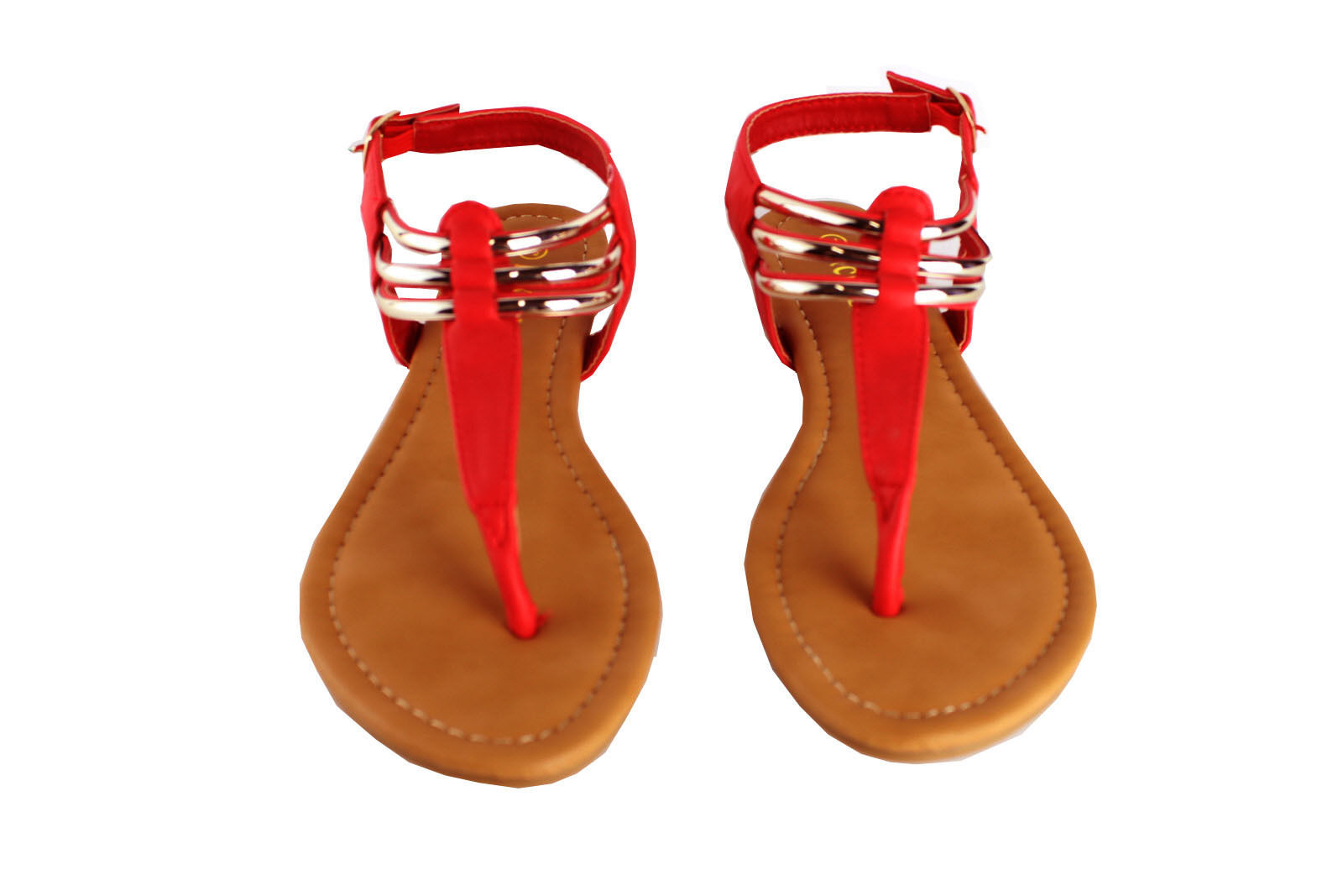 Lady Ankle Strap Thongs Sandal Casual Golden Sling Back Summer Flat Flip-Flops