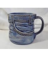 Blue jean ceramic coffee cup mug handcrafted denim look  1  thumbtall