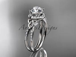 14kt white gold diamond celtic trinity knot wedding ring, engagement ring CT7373 - $1,425.00