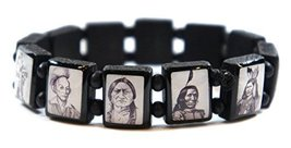 Native American Indians Black & White Wood Stretch Bracelet [Jewelry] - $14.95