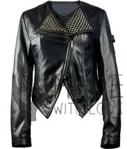 Ladies Black Short Collar Double Zipper Silver Stud Handmade Leather Jacket  - $179.99+