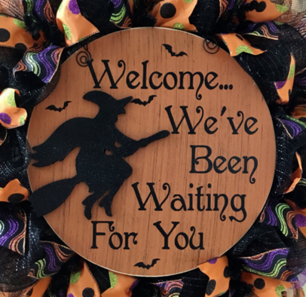 Halloween Witch Wreath 28 inch Welcome We've Been Waiting For You Deco Mesh