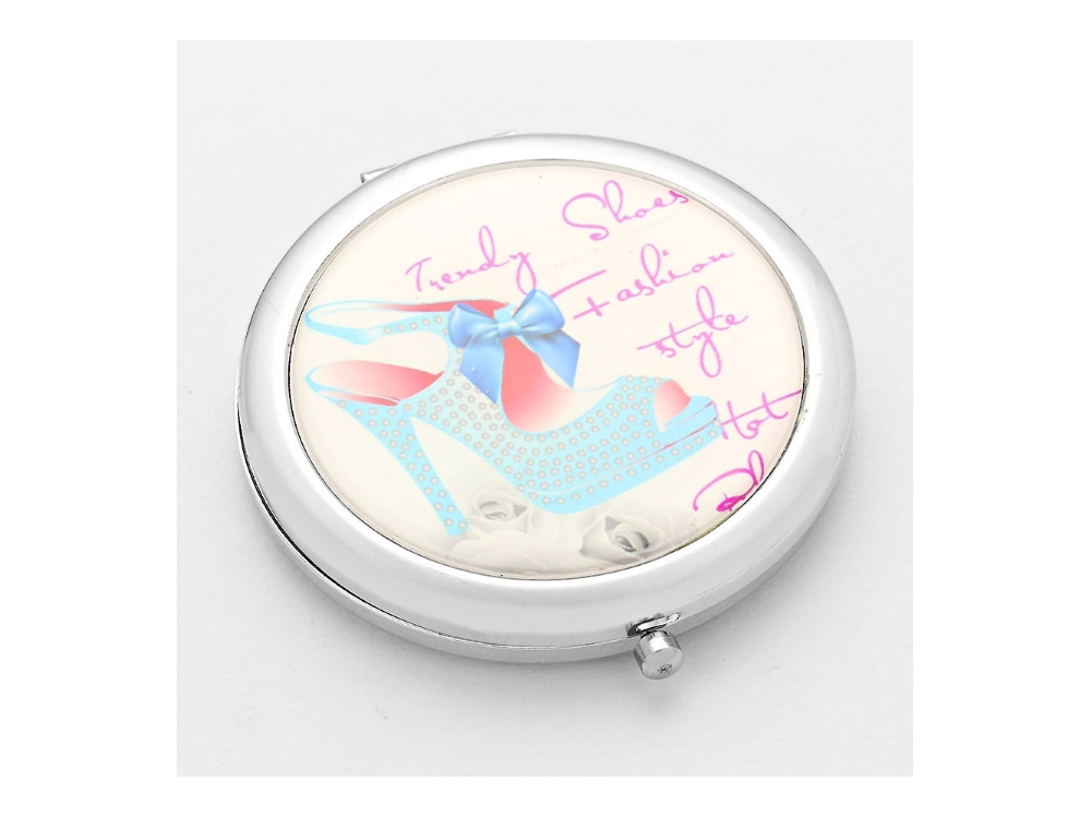 Primary image for Adoring Blue Bow Mule Folding Makeup Round Compact Mirror