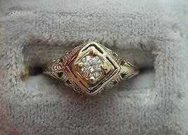 14K Gold Filigree .17ct Round Genuine Natural Diamond Ring (#J873) - $382.50