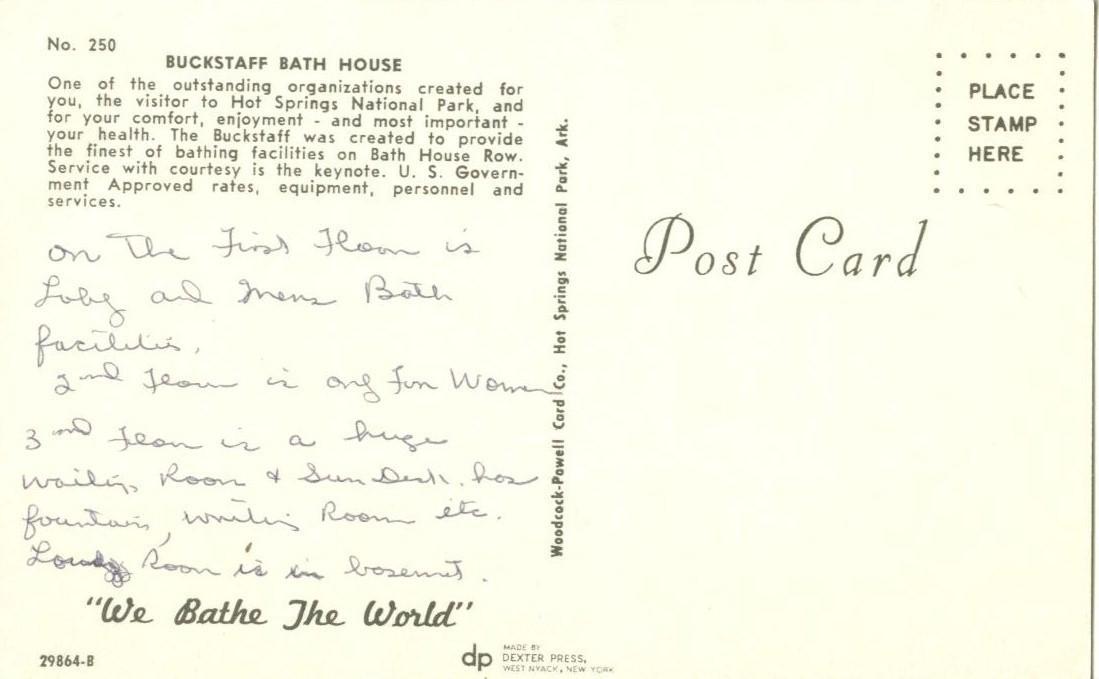 Buckstaff Bath House, Hot Springs National Park used Postcard