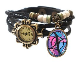 "Bisexual Black Boho Leather Charm Bracelet Watch 7"" to 8 1/4"" [Watch] - $14.95"
