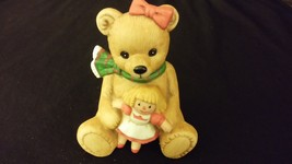 Bear w/ Doll & Scarf Figurine Large Size [Homco] Merry Christmas - $16.00