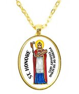 St Honore Patron of Healing Culinary Arts Huge 30x40mm Bright Gold Pendant - $14.95