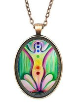 Chakra Enlightenment Lotus Huge 30x40mm Antique Copper Pendant with Chai... - $14.95