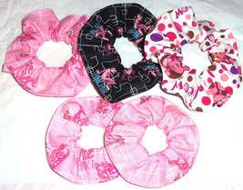 Hair Scrunchie Pink Panther Scrunchies by Sherry Ties Ponytail Holder Pink Black - $6.99+