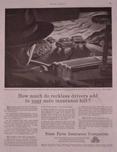 State Farm Insurance Vintage 1952 Reckless Drivers Print Ad - $12.95