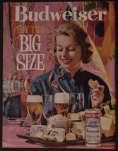 1961 Budweiser Beer Print Ad Cans Buy The Big Size  - $12.95
