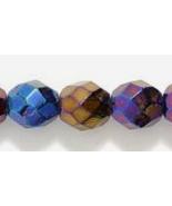 8mm Czech Fire Polish, Metallic Blue Iris Glass Beads (25) - $1.75