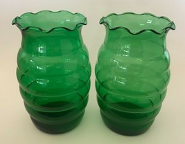"""Vintage Anchor Hocking Forest Green Glass 7"""" Crimped Top Beehive Vase - $8.90"""