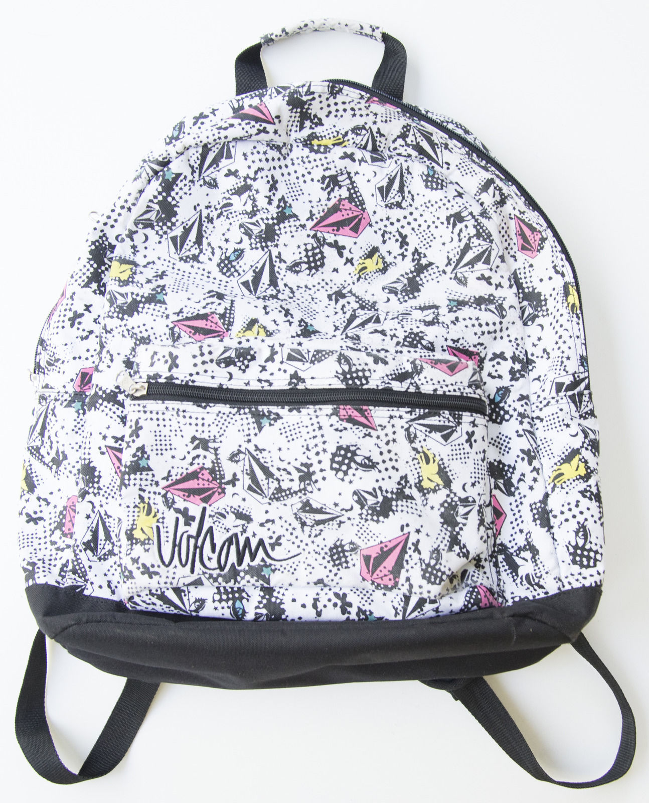 MEN'S WOMEN'S VOLCOM COSMIC FAUN STONE LOGO SCHOOL BACKPACK BAG WHITE NEW $45
